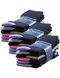 6 | 12 | 18 | 24 oder 36 Paar Damen Teenager Socken Motiv Streifen und Blümchen in 2 Größen - Qualität von Lavazio®