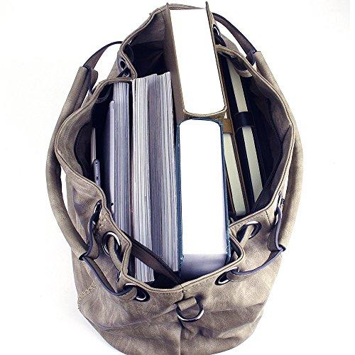 CASELAND Damen Handtaschen Umhängetaschen Cross-body Damen Hobo Henkeltaschen Schultertaschen PU Leder Taschen Grosse Kapazität (L:40cm * H:30cm * W:19cm) 3-Leichter Kaffee