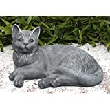 Statue en pierre chat couché, grand format, gris ardoise, pierre reconstituée