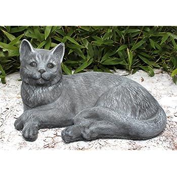 Statue en pierre chat couché, grand format, gris ardoise