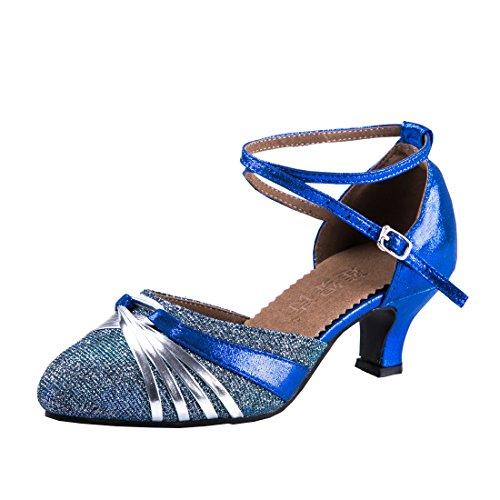 3a32c89bdff737 DorkasDE Damen Mädchen Tanzschuhe Latein ballroom Tanz Schuhe Gummi Sohle  mit 5.5cm Absatz
