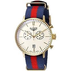 Elysee Stentor Herren Chronograph Armbanduhr Gold Nylonband Blau Rot Quarz