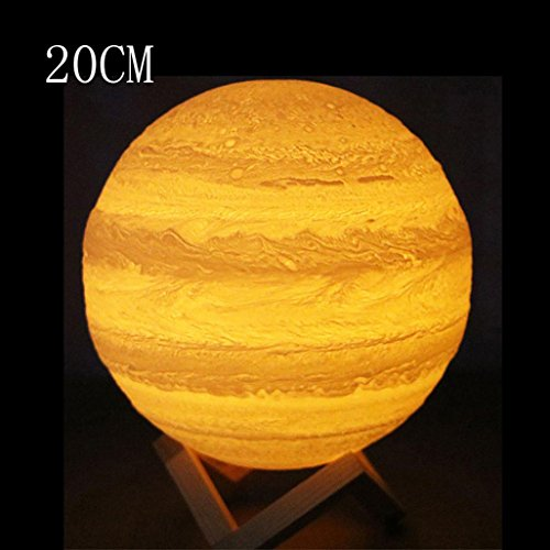 TUDUZ LED Nachtlampe 3D Mond Lampe,3D USB Handkontakt beleuchtet Jupiter Nachtlicht LuminousTable Schreibtischlampe Geschenk für kinderzimmer (20CM) (Ändern Gelben T-shirt)