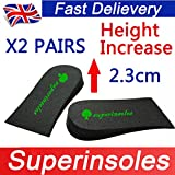 Superinsoles 2 Pairs Unisex Light Durable Heel Lift Taller Height Increasing Heightening Insoles Pads Shoes Insert-UK Dispatch