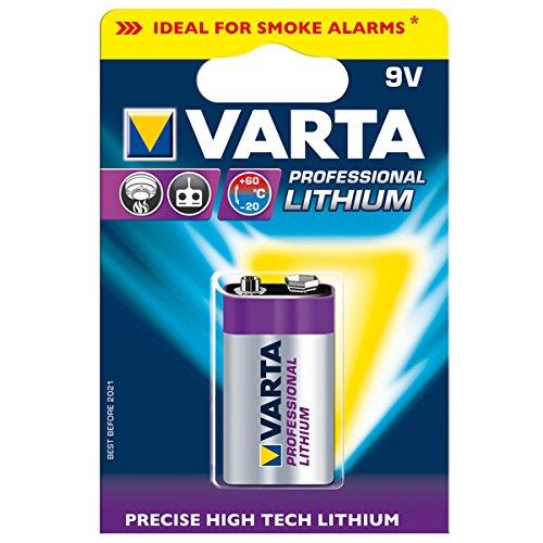 Batteria 9V LITIO VARTA - E-block transistor lithium professionale -