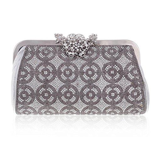 Damara® Glitzernde Kristalle Damen Strass Schnalle Handtaschen,Silber (Strass-schnalle Handtasche)