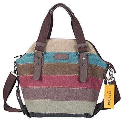 Umhängetasche Damen Fafada Multi-Color Bunte Handtasche Mädchen Canvas Shopper Mehrfarbige Umhängetasche Handtasche Groß Schultertasche Tpy B (Damen Handtasche Color Multi)