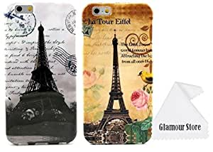 iPhone 6 Case,Pack of Two Classic Paris Eiffel Tower Design Pattern Gel Silicone Soft Case Cover Skin For Apple iPhone 6 4.7 inch With a Free Cleaning Cloth As a Gift