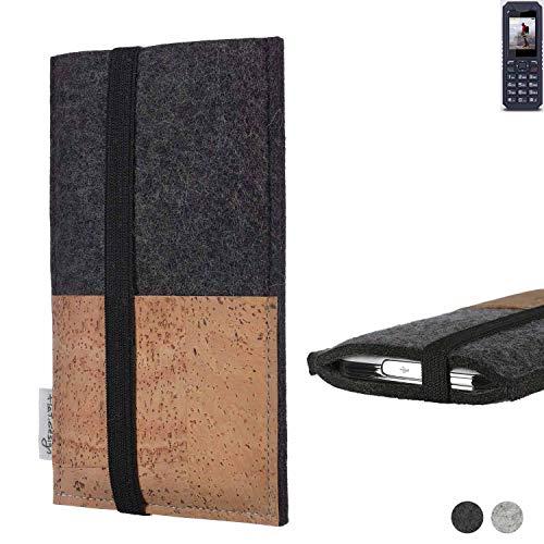 flat.design Handy Hülle Sintra für bea-fon AL250 Handytasche Filz Tasche Schutz Kartenfach Case Natur Kork