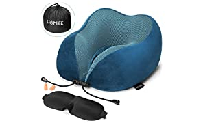 Travel Pillow, HOMIEE Neck Pillow Memory Foam, Neck Support Pillow Travel Cushion Essentials, Sleep Mask, Earplugs and Portable Storage Bag Included, Ideal for Travelling, Airplanes and Flights