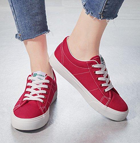 Aisun Femme Confortable Chaussures de Tennis Talon Plat à Lacets Sneakers Rouge