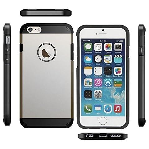 Coque Etui Armor Antichoc Solide et Rigide pour Iphone 6 6S Silver Argenté [Protection Chocs] Housse Robuste Anti Choc Facil&co®