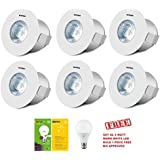 WIPRO GARNET 2W (WARM WHITE/YELLOW/2700K) Color ROUND SPOTLIGHT PACK OF 6 + Get Free 1 Piece QL 3 Watt LED (BIS Approved LED Bulb) Bulb