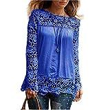 ESAILQ Damen Modisch Damen Shirt Kurzarm Revers Schlank Hemd Arbeit V-Ausschnitt mit Knöpfe(L,Blau)