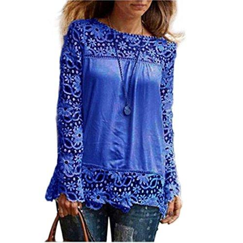 ESAILQ Damen Basic V-Ausschnitt Kurzarm T-Shirt Falten Tops mit Knopf(XXXL,Blau)