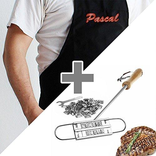 2er Set Grill Tools - Bordeaux Schürze mit Stickerei und 5-teiliges Grillbesteck mit Gravur und Tasche – Personalisiert mit Namen – Grillen Geschenk-Idee – Männergeschenke