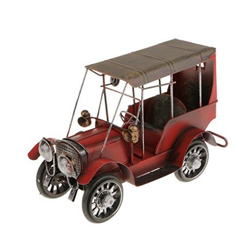 Artisanat Fer Métal Vintage Classic Car Model Forgé Modèle De Voiture Décoration - Rouge
