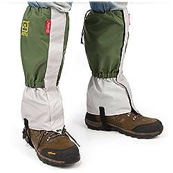 AOTU Unisex Impermeable de senderismo Escalada Actividades de esqui alpinismo Exterior Proteccion de las piernas anti-nieve arena verde
