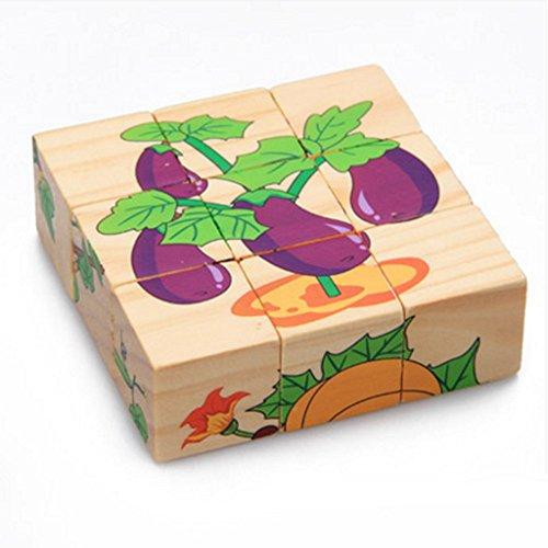 DEBON Holz-Puzzle im Kubus-Form, Frühbildungs-Spielzeug für Babys oder Kinder Vegetables