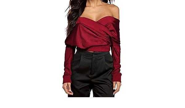 2288c1c8f1a7 Youthny Chemise Creuse à Manches Longues Sexy Épaule Dos Nus pour Femmes   Amazon.fr  Vêtements et accessoires