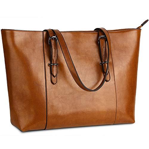 Weiche Aktentaschen (Yaluxe Damen Laptoptasche aus echtem Leder, für bis zu 39,6 cm (15,6 Zoll) große Aktentaschen, Vintage-Stil, weiches Leder, (Brown-), Large)