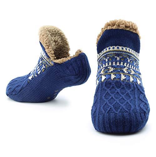 CityComfort Slipper Fluffy Socken für Frauen Männer Wärme Halten Socke Gestrickte Socken Wolle Sherpa Fuzzy Bett Hausschuhe Größe 5-8 Rutschfeste (Marine)
