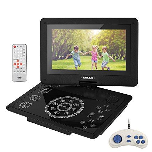 """LESHP 10,1"""" Tragbarer DVD-Player, 2800mAh 5 Stunden Akk, 1024*600 TFT 270°Schwenkbarer Bildschirm, Unterstützt SD-Karte und USB, mit Spiele-Joystick, Auto-Ladegerät"""