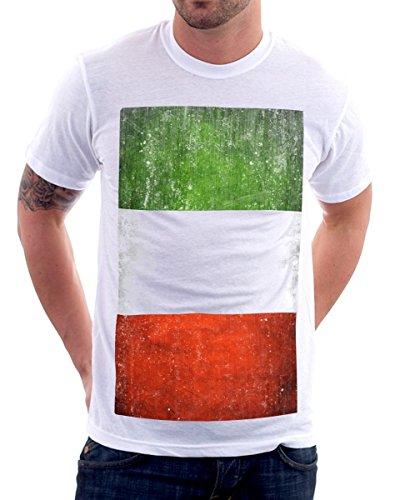 t-shirt bianca bandiera Italia, flag Italy S M L XL XXL uomo donna bambino maglietta by tshirteria bianco