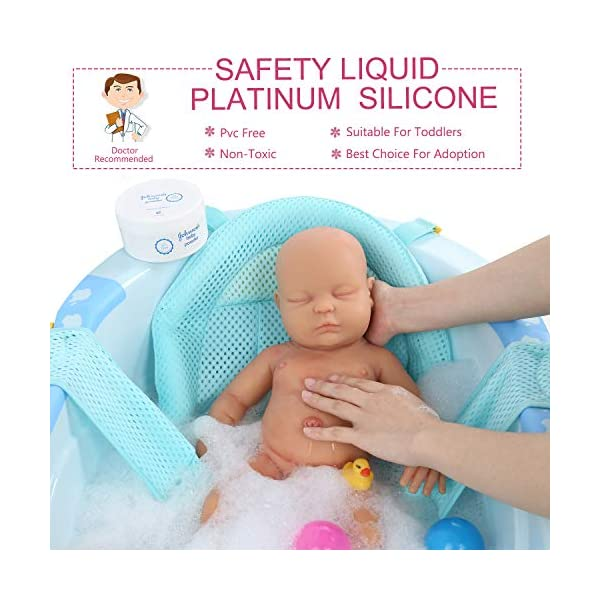 """Vollence Lifelike Reborn Baby Dolls That Look Real,PVC Free,Similar Real Baby Full Weighted Doll,Handcrafte Cute Babies Dolls Vollence ★ USER NOTICE:Because the doll's head has silicone injection hole,The injection hole is one of the process of making dolls,So it will leave a slight mark on its head,This is not a doll's quality problem,If you mind the head slight mark,please do not buy it! ★ Doll Size: 18 inch / 45 cm (newborn size) Weight:8.37Ib(3.8kg).What's in the box: 1 x Reborn Doll ; 1 x a set of baby clothes ★ Better than Vinyl Dolls: Our reborn baby is made of Platinum Liquid Full Silicone, She is Solid reborn baby dolls,And not like vinyl dolls are hollow.That is right, Real FULL SILICONE . it is Weighted Body for a """"Real"""" Baby Feel. So it is expensive than other seller baby dolls. 4"""
