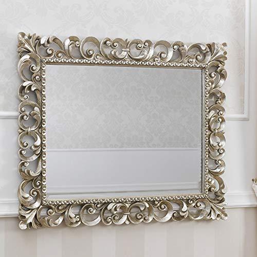 simone guarracino specchiera zaafira stile barocco cornice traforata foglia argento mecca specchio molato cm 94 x 74
