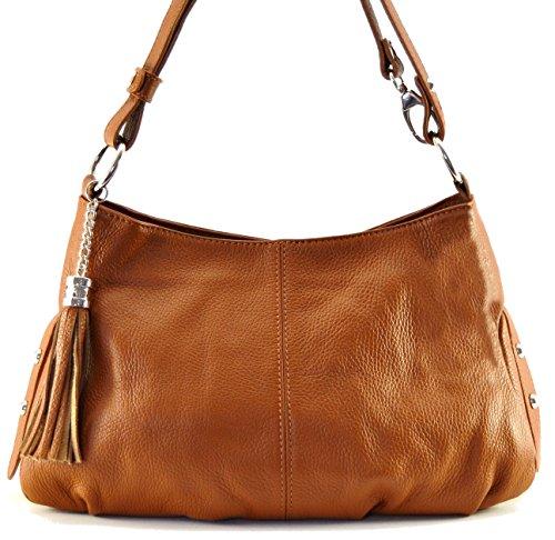 OH MY BAG Sac à Main femmes CUIR italien Sac porté épaule et bandoulère Modèle LOBE cognac - SOLDES