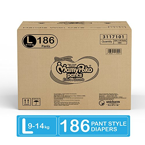 MamyPoko Pants Extra Absorb Large Size Diapers, (Pack of 62 Diapers*3 = 186 Diapers) - Super Value Pack