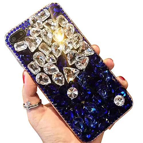 Miagon Glänzend Hülle für Samsung Galaxy A40,3D Handschlaufe Glitzer Bling Strass Hülle Diamant Transparent Handyhülle Bumper Case Tasche Schutzhülle,Blau Klar