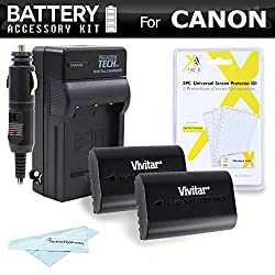 2 Pack Battery and Charger Kit For For The Canon EOS 60D EOS 70D EOS 5D Mark II 5D Mark III 7D DSLR Camera Includes 2 Extended Replacement LP-E6 (2200 mAH) Battery (with Info-Chip!) + Ac/Dc Charger + Screen Protectors. Battery Shows time on LCD!