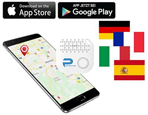 Phantiax Neues ITrack Model 3 Motion Keyfinder in Weiß mit Bluetooth App Schlüsselfinder mit GPS Ortung und Bewegungsmelder über Handy Verbindung Starkes akustisches Signal Smartphone Finder
