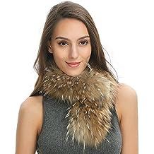 Ferand de piel Para Mujer Pelo De mapache bufanda Wrap chal