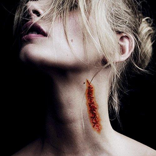 10 Pcs Halloween Temporäre Tattoos - Halloween Zombie Scars Tattoos Aufkleber Halloween Zombie Narben Vampir (Up Make Halloween Männer)
