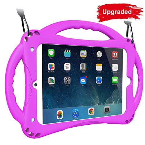 [Neues Design] TopEsct iPad Mini Case Kinder Anti-Shock Stoßfest Griff Ständer Schutzhülle für iPad Mini, Mini 2, Mini 3 iPad Mini 4 und iPad Mini 5 2019(iPad Mini,Lila)