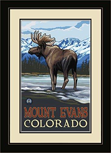 Northwest Art Mall pal-0506mfgdm Mis Mount Evans Colorado Elch in Stream Gerahmter Art Wand von Künstler Paul A. lanquist, 13von 40,6cm (Elch-mount)