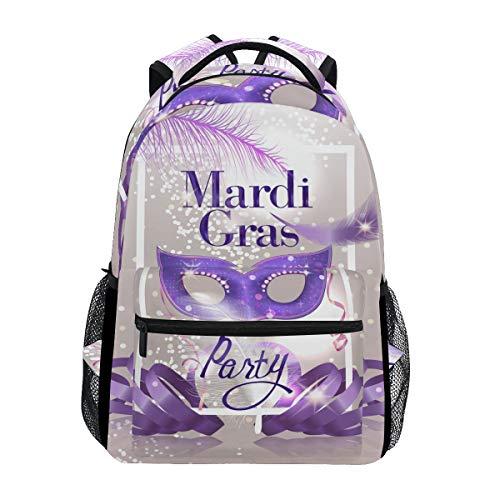Mardi Gras Party Rucksack Wasserdicht Schulrucksack Gym Rucksack Lila Feder Laptop Tasche Outdoor Reise Tasche für Kinder Jungen Mädchen Frauen Männer (Federn Mardi Gras)