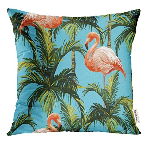 Throw Pillow Cover Blue Tropical Beautiful Floral Summer Pattern with Palm Trees and Pink Flamingo Perfect for Green Beach Decorative Pillow Case Home Decor Square 18x18 Inches Pillowcase (Die Friends-halloween Tree)