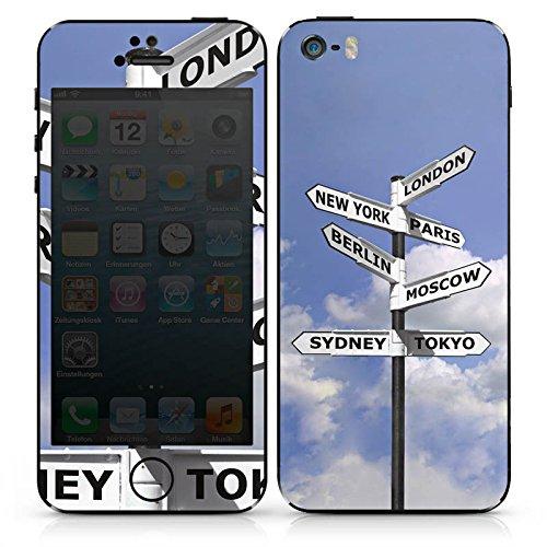 Apple iPhone SE Case Skin Sticker aus Vinyl-Folie Aufkleber Wegweise Städte Reise DesignSkins® glänzend