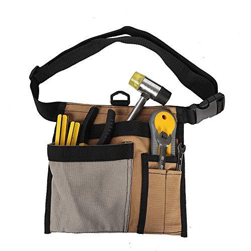 QEES Werkzeuggürtel aus Segeltuch für Herren, einseitige Schürze, Werkzeuggürtel, Werkstattgürtel, Holzwerkzeuge und Zubehör, Schraubendrehertasche, khaki