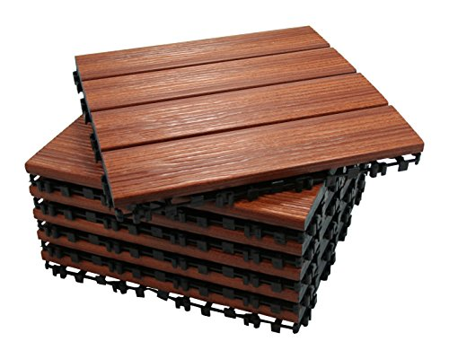 ECO-PAVE 7600342904792 Wasserrutschfesten Bodenbelag kirschrote Farbe 30X30 cm 6 Stück