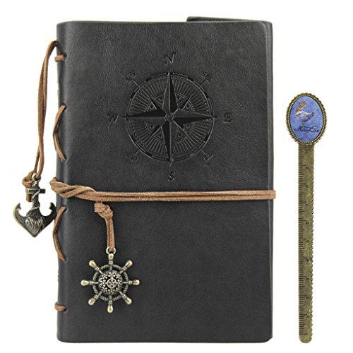 Retro Notizbuch Skizzenblock Leder Reisetagebuch DIN A5 nachfüllbar Spiralbuch Journal Notizblock Kraftpapier Sketchbook als Geschenk für Geburtstag Jahrestag -