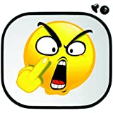 """'Protección Solar 45x 39cm """"böses/verär gertes cara con disco de corte de mangas página de Auto parasol Visera de sol infantiles de protección–Smiley Emoji"""