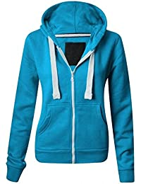 NEW LADIES WOMENS PLAIN HOODIE HOODED ZIP TOP ZIPPER SWEATSHIRT JACKET COAT Turquoise UK 14 / AUS 16 / US 10