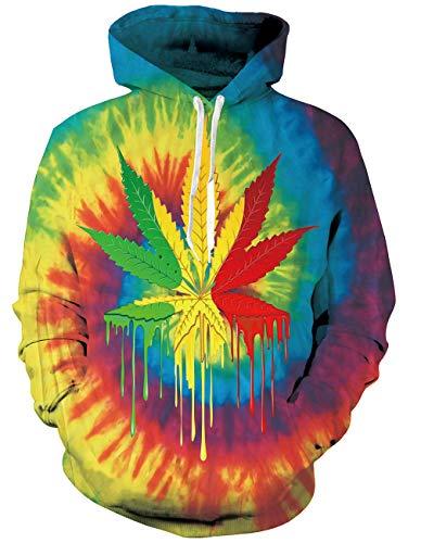 RAISEVERN Unisex Männer Frauen 3D Drucken Graffiti Pullover Hoodie Sweatshirt mit Kapuze sportlichen Pullover Herbst Winter Langarm Jacke Mantel Bunte Weed (Winter Hoodie Mantel)