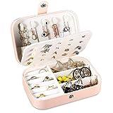 Schmuckkästchen Mädchen, Pamiyo Schmuck Aufbewahrungsbox Schmuckkoffer Klein, Kleines Reise Schmuckbox, PU-Leder Schmuckkästchen für Ringe, Ohrringe, Geschenk für Mädchen und Damen-Rosa