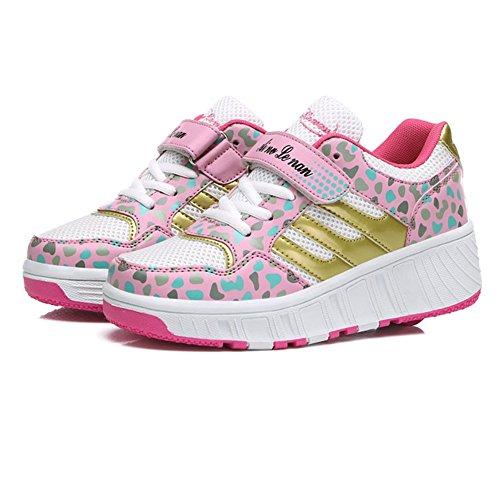 iBaste Schuhe mit Rollen Rollschuhe Drucktaste Kinder Jungen Mädchen Sportschuhe Tanzschuhe Sneaker Turnschuhe Skaterschuhe Pink